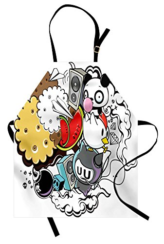 Ambesonne Indie Apron, Animal and Food Themed Composition Cr