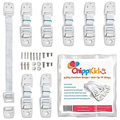 Furniture wall straps / Anti tip TV safety straps by ChippKid ✮ Easy to Install ✮ [8 pack] Top quality childproofing Earthquake Straps | Anchor any furniture or TV. Secure your home now!
