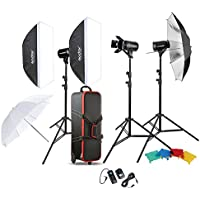 Godox E300 300W x 3 Photography Photo Studio Speedlite Lighting Lamp Kit Set with 3pcs Studio Flash Strobe Light Stand Softbox Soft Reflector Umbrella Barn Door Trigger