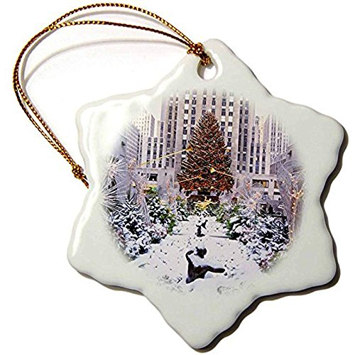 Bowen Rhodes Christmas Tree, Rockefeller Center, Manhattan, New York, Usa Snowflake Ornament, Porcelain, 3