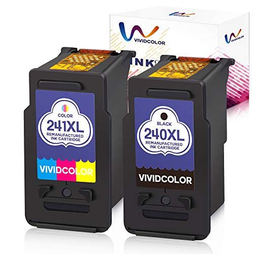 Vividcolor Remanufactured Ink Cartridge Replacement PG 240XL CL 241XL for Canon PIXMA MG3620 MG3520 MG3220 MG2220 MG2120 MX532 MX472 MX432 MX452 MX522 (1Black+1 Color)