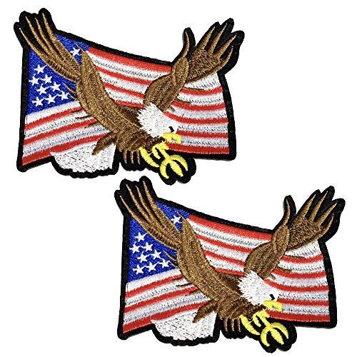 2 Pcs Delicate Embroidered Patches,Iron On Patches, Sew On Applique Patch,American Eagle Embroidery Patches, Cool Patches for Men, Women, Boys, Girls, Kids - Mens Eagle Applique