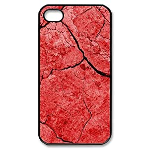 Bloomingbluerose Red Flower IPhone 4/4s Cases Red Dirt, [Black]