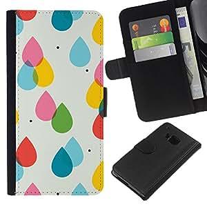 For HTC One M7 Case , Rain Pink Yellow Polka Dot Summer - la tarjeta de Crédito Slots PU Funda de cuero Monedero caso cubierta de piel