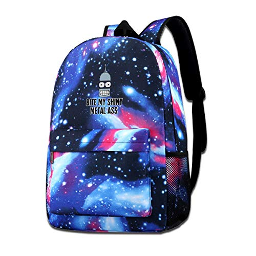 (Kids Backpack Futurama Bite My Shiny Metal Ass School Hiking Travel Shoulder Bag Camping Starry Sky Daypack For Teen Boys Girls)