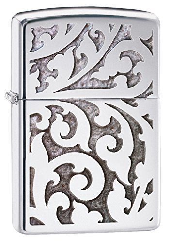 Chrome Pocket Lighter - Zippo Filigree Design High Polish Chrome Pocket Lighter