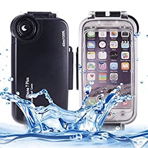 For iPhone 5.5 inch Case, For iPhone 7 Plus 40m Waterproof Diving Housing PC + ABS Protective Case (5.5 inches) ( Color : Black )