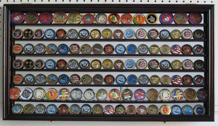 CollectibleChallenge-Coin-Display-Case-Wall-Cabinet-Shadow-Box-with-Mirror-Background-Mahogany-Finish