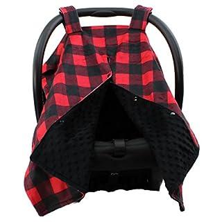 Dear Baby Gear Deluxe Car Seat Canopy, Custom Minky Print Red and Black Buffalo Plaid