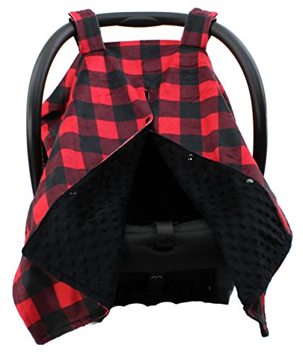 Dear Baby Gear Deluxe Car Seat Canopy, Custom Minky Print Red and Black Buffalo Plaid