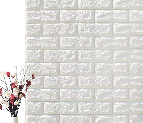 5-Pack 3D Brick Wall Panels Stickers PE Foam Self Adhesive Wallpaper Removable Wall Decoration,27.5''30.30.27''/pcs (White) ()