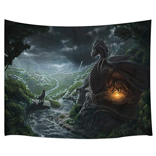 DYNH Fantasy Dragon Tapestry, 3D Magical Medieval Legendary Monster Wild Animals with Flame on Forest Fairytale Tapestry Wall Hanging, 80X60 in Panels for Bedroom TV Backdrop Blanket Hippie 3D Print