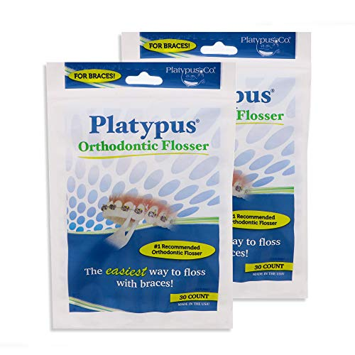 Platypus Orthodontic Flossers for Braces - Unique Structure Fits Under Arch Wire, Floss Entire Mouth in Less Than Two Minutes, Increases Flossing Compliance Over 84% - 30 Count Bag- Pack of 2