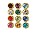 Caflon Ear Piercing Bezel Earrings Studs 3mm Assorted Colors Gold Plated 144 Pair