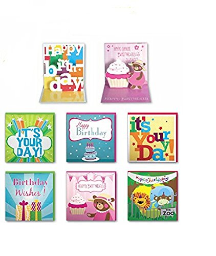 Assorted Handmade Embellished Pop up Birthday Cards Box Set, 6 Pack Birthday Card Assortment for Kids and Adults