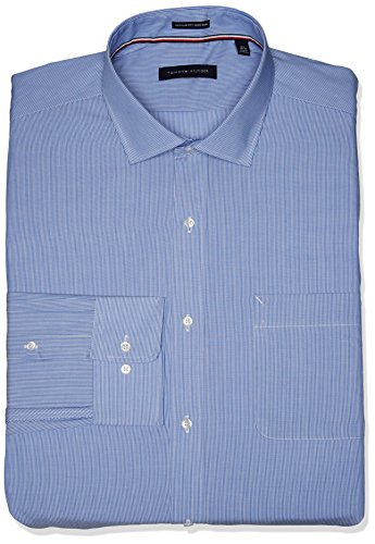 - Tommy Hilfiger Men's Non Iron Regular Fit Stripe Spread Collar Dress Shirt, Stream, 18.5
