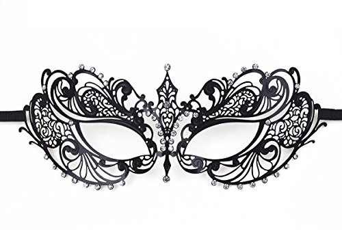 [Women's Metal Filigree Laser Cut Venetian Masquerade Halloween Mask, Black] (Masquerade Masks Metal)