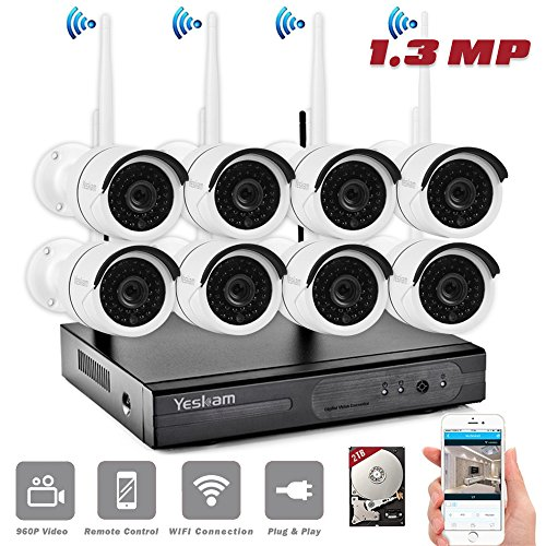 YESKAM Wireless Security System 8 Channel 960P Metal Outdoor Weatherproof Camera Infrared IR-LED Night Vision Remote View on Smartphone Pre-install 2TB HDD (8CH 960P with 2TB)