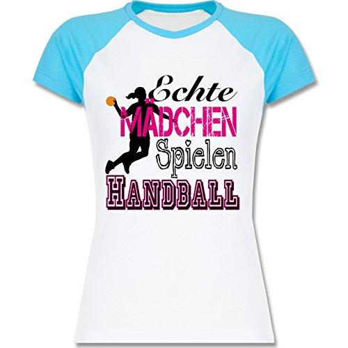 Handball - Echte Mädchen Spielen Handball - S - Weiß/Türkis - L195 - zweifarbiges Baseballshirt / Raglan T-Shirt für Damen