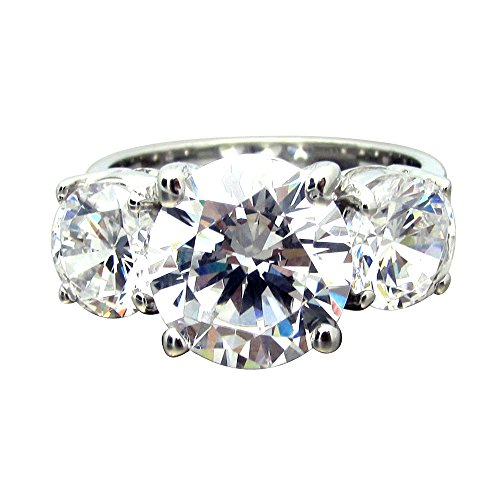 SR00755 .925 Sterling Silver 6ct tw 4ct Center CZ Brilliant Cut Round Center Three Stone Ring