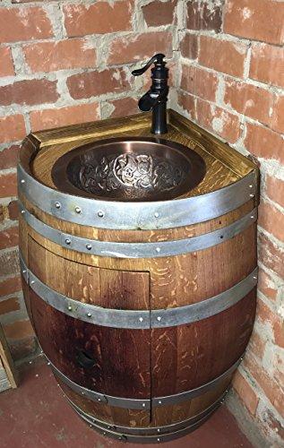 (Wine Barrel Corner Copper Sink Vanity)