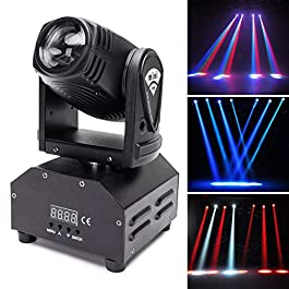 U`King Moving Head Stage Light RGBW (4 in 1) DMX512 Rotating Wash Lighting Effect Spotlight with Sound Activated Control…