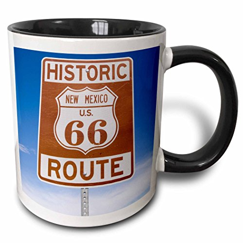 3dRose 92526_4 New Mexico, Santa Fe, Route 66, Historic sign-US32 BBA0019-Bill Bachmann Two tone black mug, 11 oz, White ()