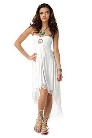Sky Womens Kunitz High Low Dress White At Amazon Womens Clothing