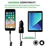 iPhone Car Charger, Sngg 24W/4.8A USB Car Charger with Coiled Lightning Cable for iPhone 7 Plus 6 6S Plus 5S 5 5C SE,iPad and More,with Extra USB Port