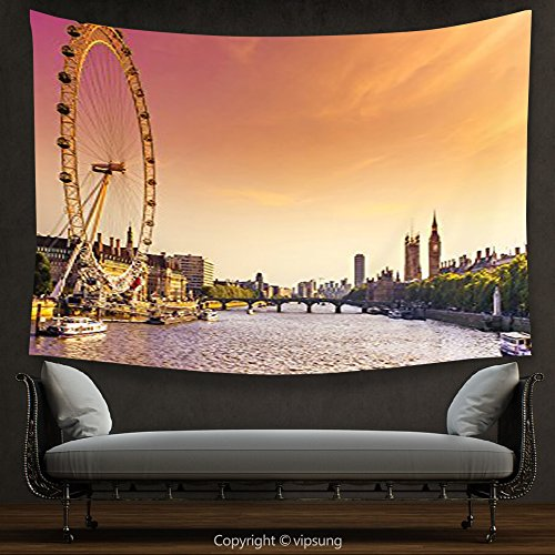 House Decor Tapestry London Decor Collection Sunset View from Bridge on Thames River Ferris Wheel London Eye Big Ben Westminster Picture Pink Peach Wall Hanging for Bedroom Living Room - Ferris Wheel Eye London