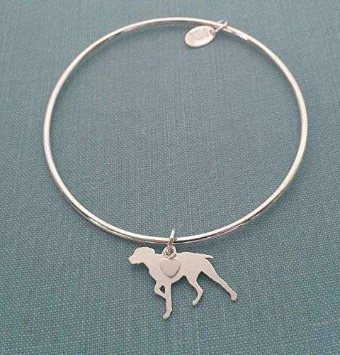 .925 Sterling Silver German Shorthaired Pointer Dog charm Bangle Bracelet Pet Memorial - Shorthaired Pointer German Jewelry