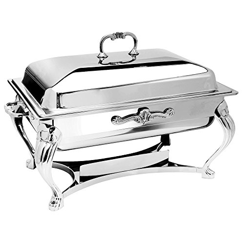 Eastern Tabletop 3206QA-SS Queen Anne 8 Qt. Stainless Steel Rectangular Chafer with Lift-Off Lid