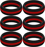 SayitBands Six of New Thin Red Line Silicone Ring Size 11