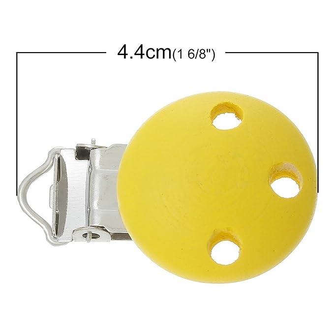 blanco Newin Star Chupetes de Clip de madera,Teether Clip natural seguro sin BPA Universal Clips Adorable para beb/é