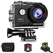 Apexcam 4K Action cam 20MP WiFi Sports Kamera Ultra HD Unterwasserkamera 40m 170 ° Weitwinkel 2.4G Fernbedienung…