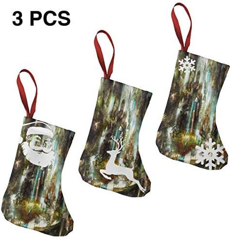 クリスマスの日の靴下 (ソックス3個)クリスマスデコレーションソックス ファンタジー戦争 クリスマス、ハロウィン 家庭用、ショッピングモール用、お祝いの雰囲気を加える 人気を高める、販売、プロモーション、年次式