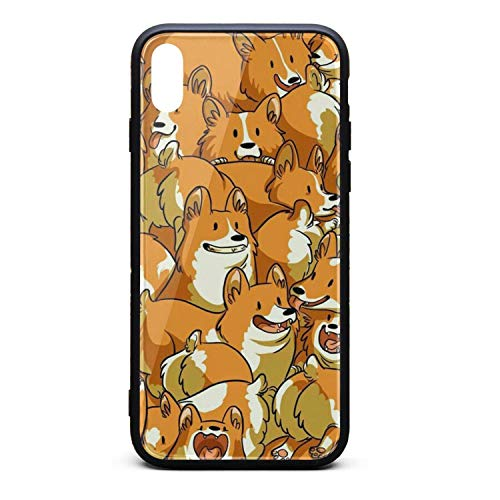 (Fashion Phone Case for iPhone Xs The Rhubarb Dog is Playing Rubber Frame Tempered Glass Covers Pretty Scratch-Resistant Skid-Proof Never Fade Mobile Cases Hippie)