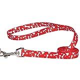 Casual Canine Pooch Patterns Dog Leash, 4-Feet x 5/8-Inch Lead, Red Bone
