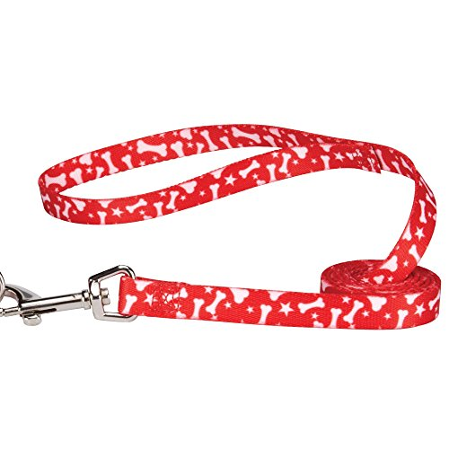 Casual Canine Pooch Patterns Dog Leash, 6-Feet x 1-Inch Lead, Red Bone
