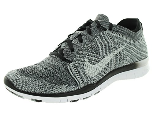 Nike Free 4.0 Flyknit Women's Running Shoes, 10, Black/white/wolf Grey