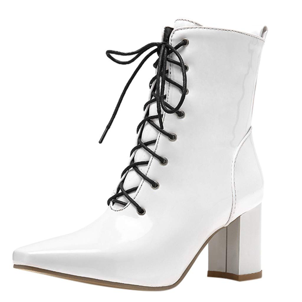 Women's Lace-Up Ankle Boots | Ladies Fashion Square Toe Medium Chunky Heel Short Bootie | Casual Faux Leather Boot Shoes with Side Zip by Leadmall-Boot