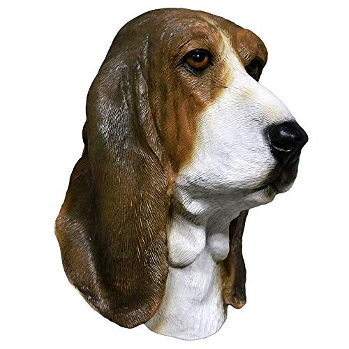 Basset Hound Masks Realistic Animal Dog Head Mask for Christmas Party Cosplay Costume Prop Dog Mask Adult Brown]()
