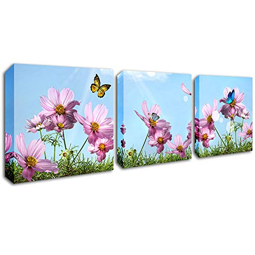 Flower Canvas Wall Art Pink Daisy with Butterfly Picture 3 Panels Modern Giclee Prints Artwork Stretched and Framed Natural Art Canvas Ready to Hang