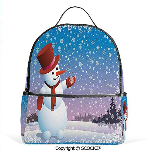 All Over Printed Backpack Cartoon Happy Snowman Looking at the Snowflake Icy Winter Scenery Evergreen Woods Decorative,Multicolor,For Girls Cute Elementary School Bookbags