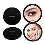 HAMSWAN Compact Makeup Mirror Pocket Mirror Portable Foldable Double Sided Mirrors with 10 x Magnification for Wedding Birthday Anniversary Gift and Travel (Black)