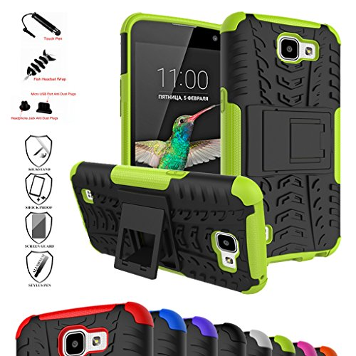 LG K4 Case,Optimus Zone 3 Case,Spree Case,Mama Mouth Shockproof Heavy Duty Combo Hybrid Rugged Dual Layer Cover with Kickstand For LG K4/Optimus Zone 3/LG Spree (With 4 in 1 Free Gift Packaged),Green