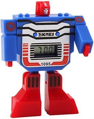 Fanmis Kids LED Digital Cartoon Sports Robot Transformation Toys Boys Wrist Watch Blue
