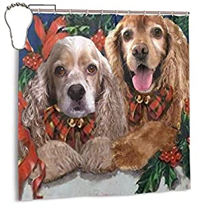 Merry Christmas American Cocker Spaniel Dog Valid Mouldproof Printed Decor Shower Curtains Waterproof Polyester Fabric 72 X 72 Inches Opacity Spa Curtain Indoor Bathroom Home Decorations 1