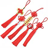 5pcs Handmade Silky Floss Chinese Tassel with Satin Silk Made Chinese Knots for Door and Car Handing Decoration, DIY Craft (Mixed1)