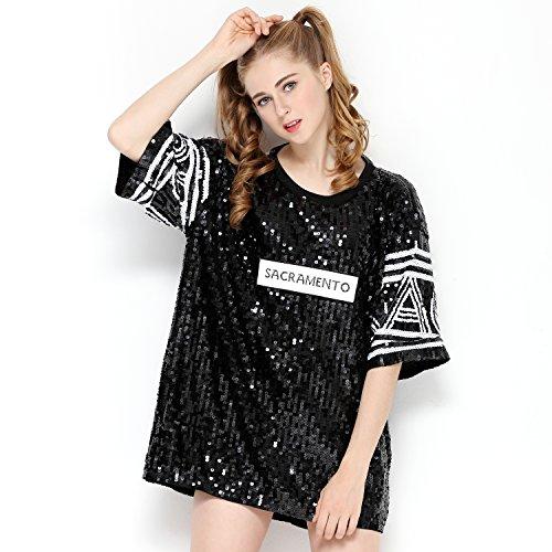 IMAGICSUN Halloween Costume Letter Print Sequin T Shirt Shimmer Black Tops for -